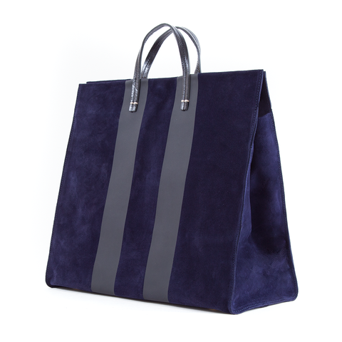 clare v simple tote navy suede black racing stripes maeree