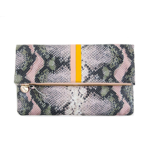 clare v blush snake foldover clutch at maeree