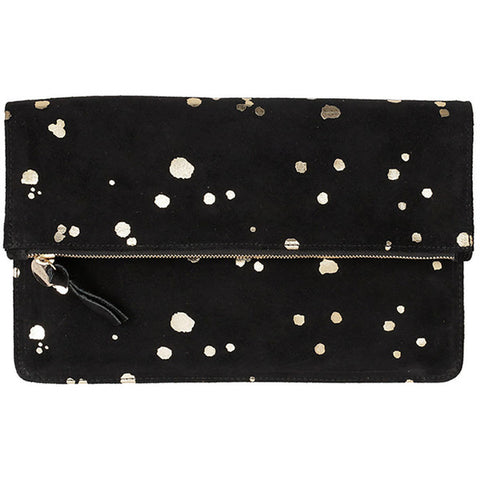 clare v margot foldover clutch gold splash