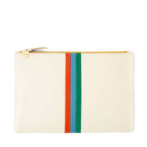 clare v white rustic flat clutch desert stripe inlay at maeree