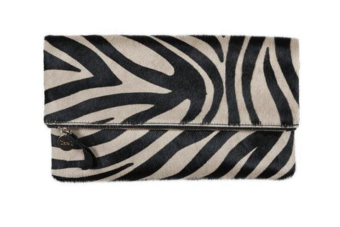 clare v zebra hair on hide foldover clutch