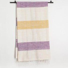 Organic Cotton Fuchsia & Gold Striped Blanket