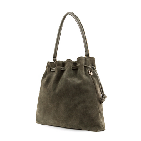 clare v henri maison shoulder bag army green suede at maeree
