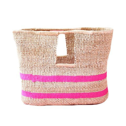 indego africa pink stripe beach basket bag at maeree