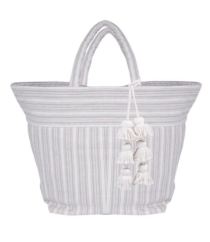 jadetribe sabai gray striped beach tote