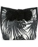jadetribe aloha cosmetic clutch palm pattern with pom poms maeree