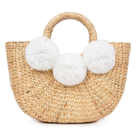 jadetribe mini beach basket white pom pom at maeree
