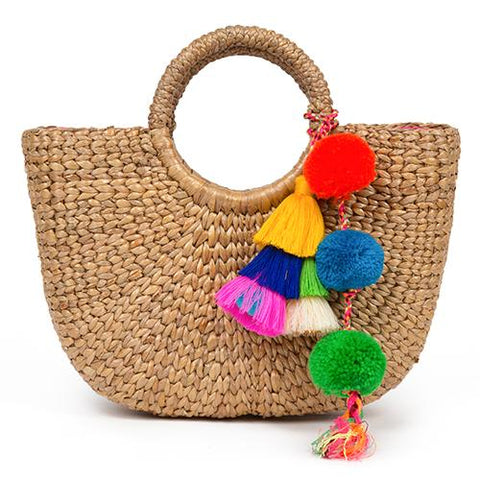 jade tribe mini basket multi tassel maeree