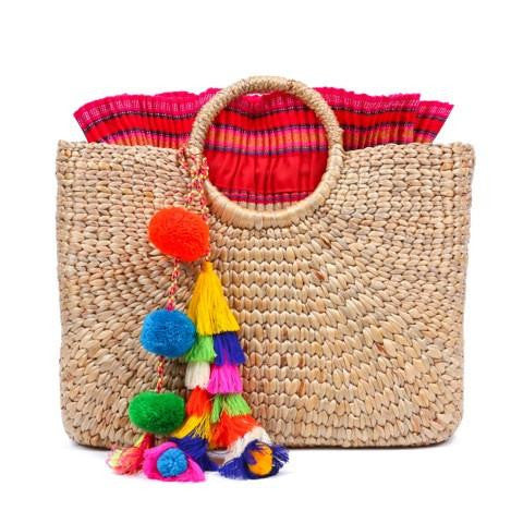 Square Hyacinth Tasseled Basket Bag
