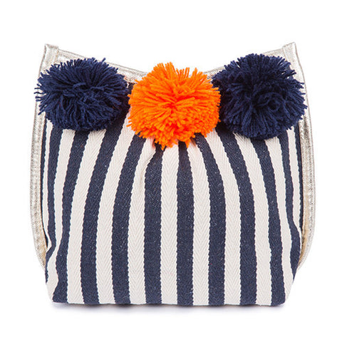 Navy & White Stripe Pom Pom Clutch