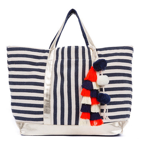 jadetribe valerie st jean navy striped beach tote at maeree