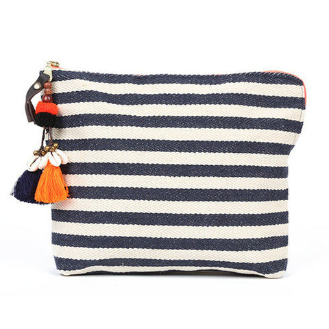 JADEtribe navy and white stripe valerie clutch at maeree