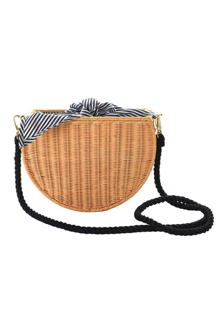 kayo dylan black stripe wicker bag at maeree