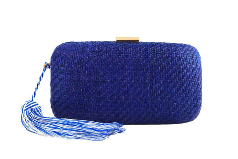 kayu charlotte clutch in blue at maeree