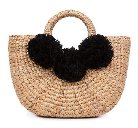 jadetribe mini beach basket 3 pom pom black at maeree
