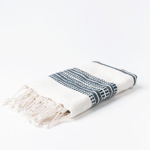 creative women natural and navy organic cotton towel at maeree