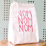 oh little rabbit recycled cotton lunch bag nom nom nom at maeree