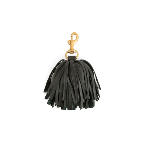 clare v black leather pom pom tassel at maeree