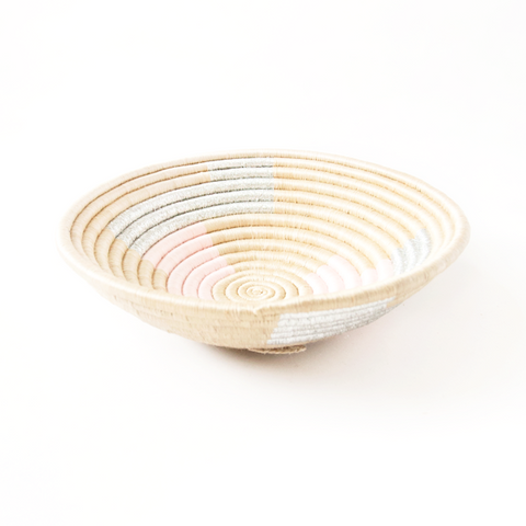 indego africa silver and pink plateau basket