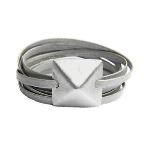 article22 rock stud silver leather wrap bracelet at maeree