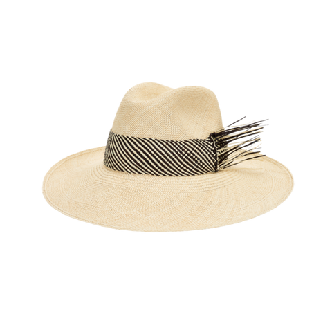 artesano wide brim straw hat natural and black