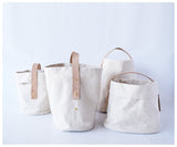 celina mancurti canvas and leather basket
