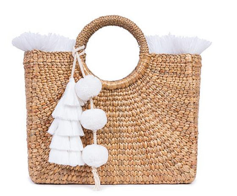 White Fringed Beach Basket
