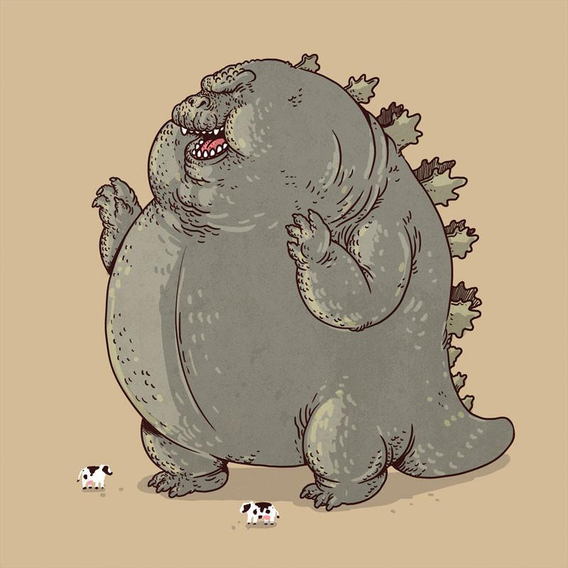 The Famous Chunkies: Godzilla by Alex Solis