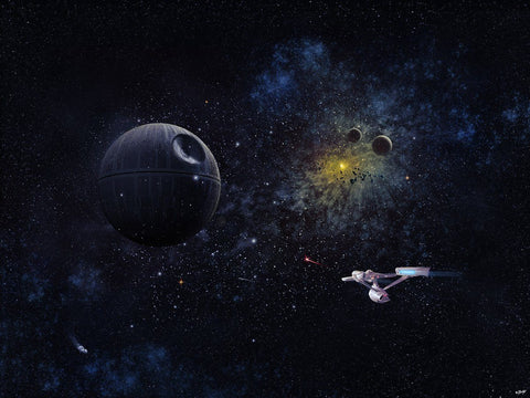 USS Enterprise VS Death Star by Doaly