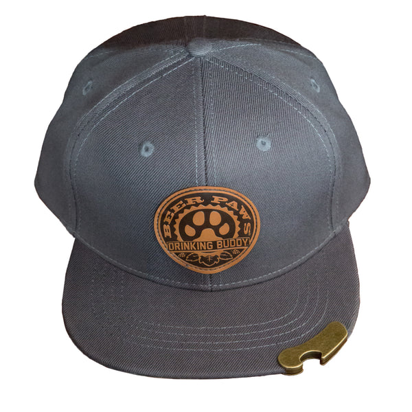 Flat Bill Snapback Hat with Bottle Opener and Leather Patch