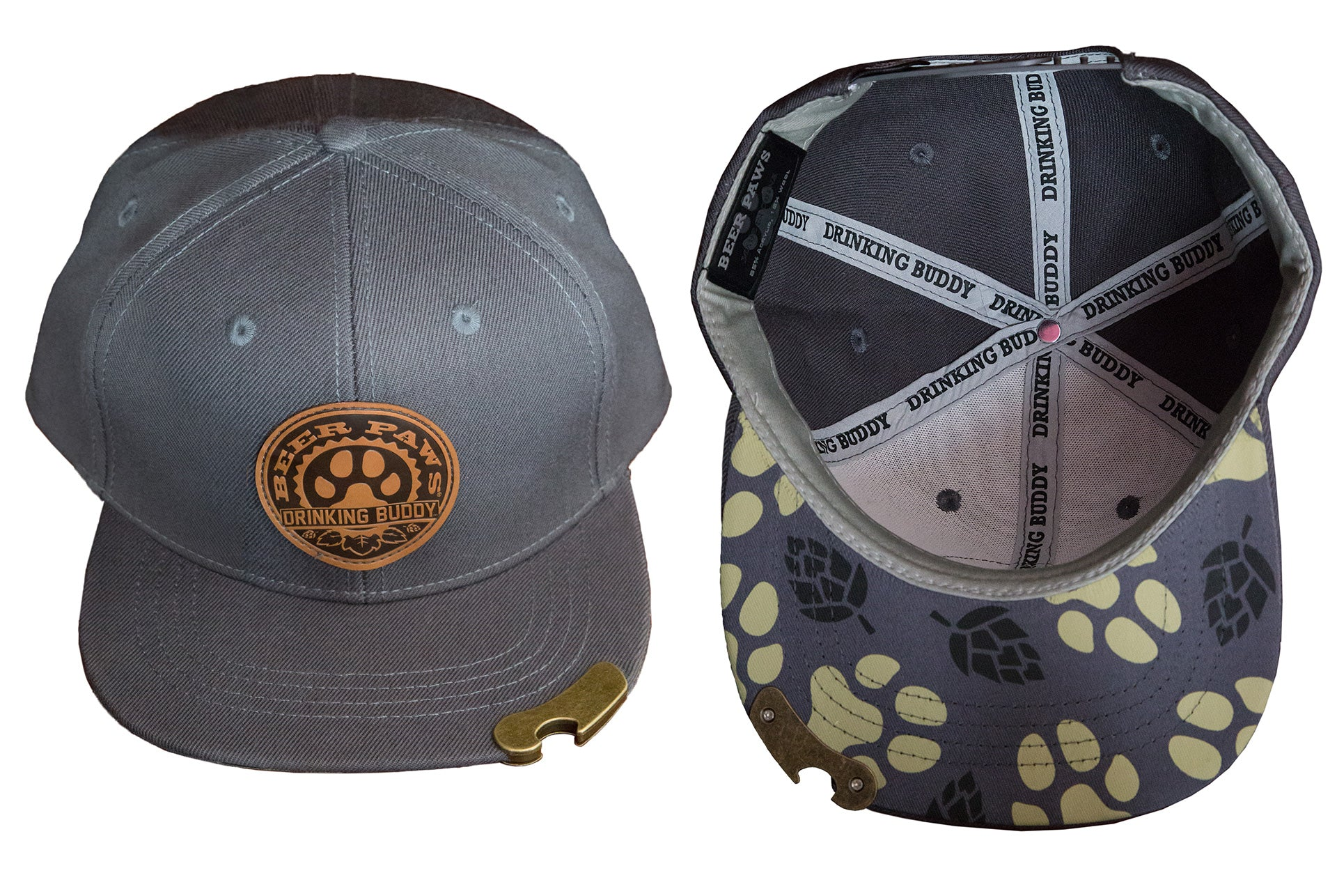 bae776c1c07 Flat bill snapback hat with bottle opener and leather patch jpg 1920x1286  Camo hat with bottle