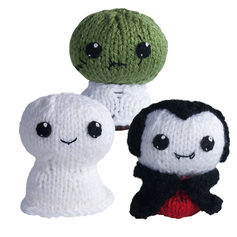 Knit Amigurumi Pattern: Trick or Treat 1: Ghost, Zombie, Vampire, 4 inch - CraftyAlien.com