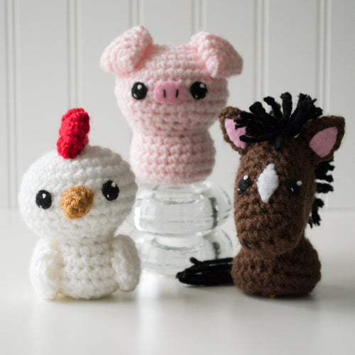 Born in a Barn 1: Chicken, Pig, Horse Crochet Amigurumi Pattern, 4 inch - CraftyAlien.com