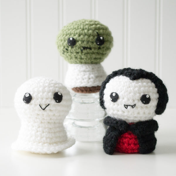 Adorblings™ Trick or Treat 1: Ghost, Zombie, Vampire Crochet Amigurumi Pattern, 4 inch - CraftyAlien.com