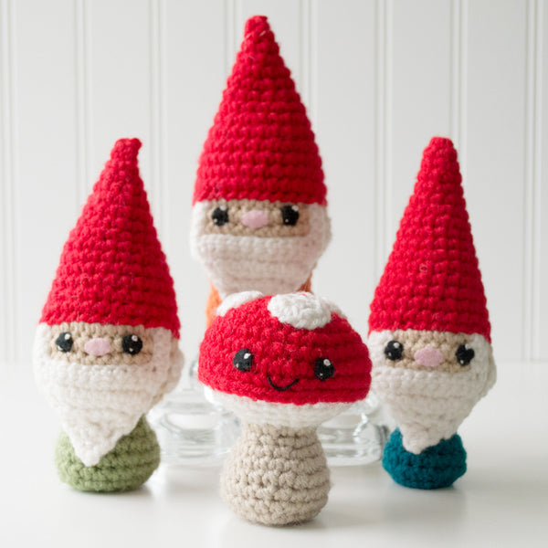 Adorblings™ Oh Gno! Gnomes & Shroomy the Mushroom Crochet Amigurumi Pattern, 4 inch - CraftyAlien.com