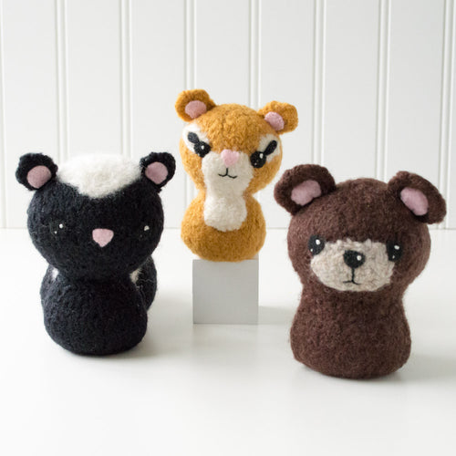 Backyard Critters 2: Skunk, Chipmunk, Bear Felted Knit Amigurumi Pattern, 4 inch - CraftyAlien.com