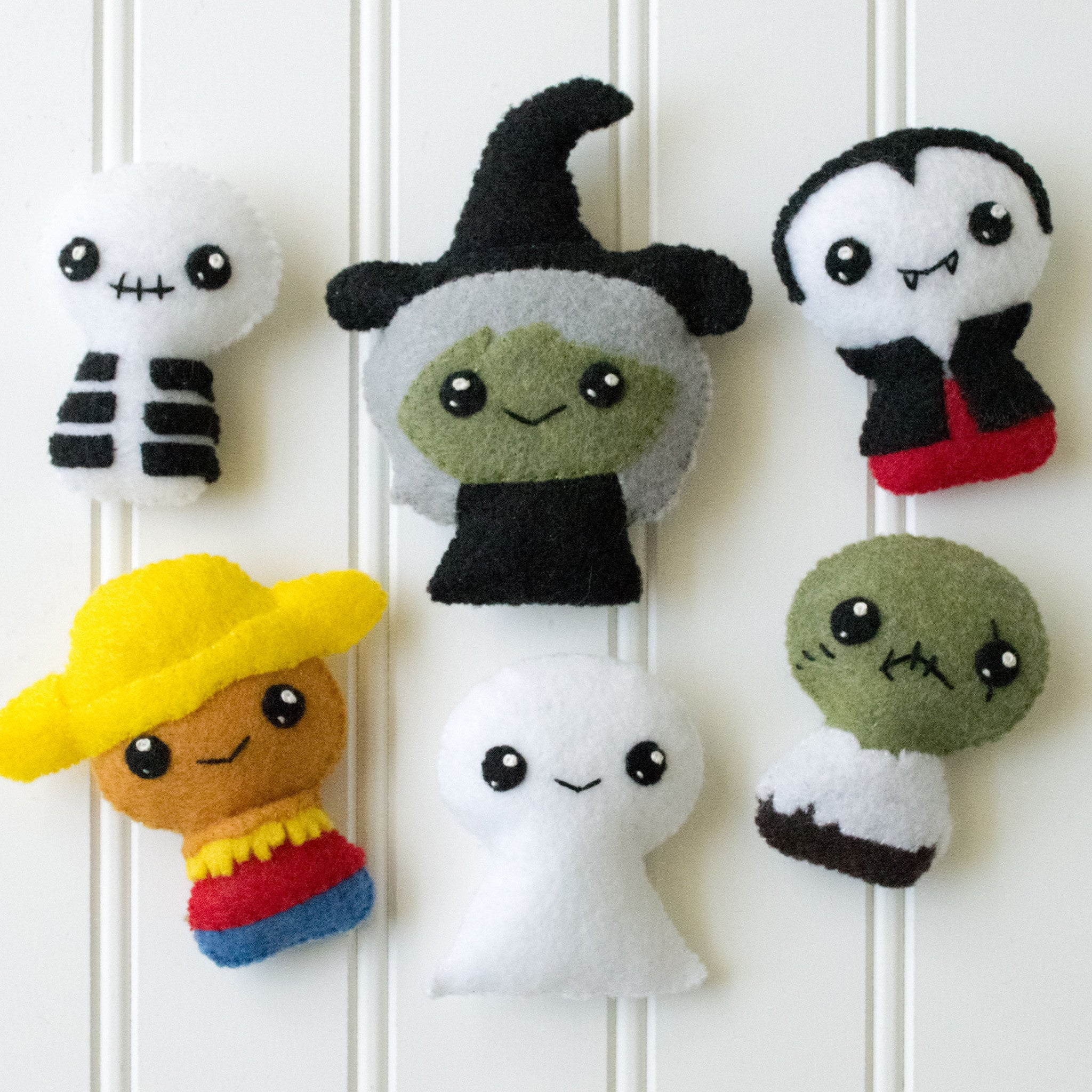 Adorblings™ Felt Embroidery Pattern - Trick or Treat 1 - Ghost, Zombie, Vampire, Skeleton, Witch and Scarecrow - CraftyAlien.com