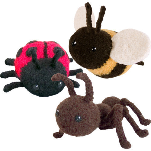 Adorblings™ Buggin' Out! 1: Ant, Ladybug, Bee Felted Knit Amigurumi Pattern, 4 inch - CraftyAlien.com