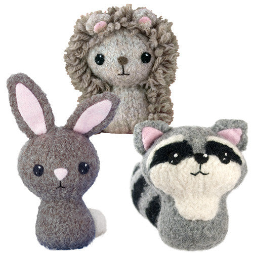 Backyard Critters 3: Bunny Rabbit, Hedgehog, Raccoon Felted Knit Amigurumi Pattern, 4 inch - CraftyAlien.com