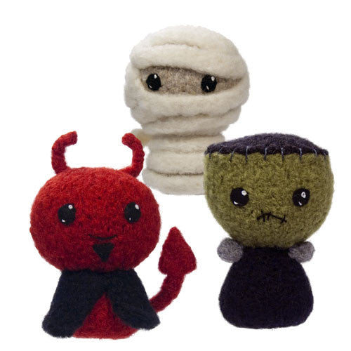 Trick or Treat 3: Mummy, Frankenstein, Devil Felted Knit Amigurumi Pattern, 4 inch - CraftyAlien.com