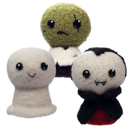 Felted Knit Amigurumi Pattern: Trick or Treat 1: Ghost, Zombie, Vampire, 4 inch - CraftyAlien.com