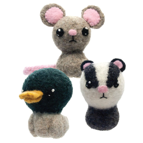 Backyard Critters 7: Mallard Duck, Mouse, Badger Felted Knit Amigurumi Pattern, 4 inch - CraftyAlien.com
