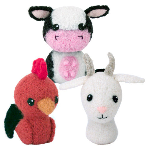 Adorblings™ Born in a Barn 2: Cow, Rooster, Goat Felted Knit Amigurumi Pattern, 4 inch - CraftyAlien.com