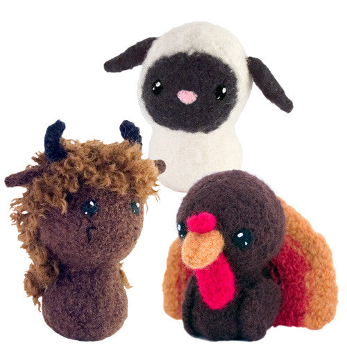 Adorblings™ Born in a Barn 4: Turkey, Sheep, Buffalo Felted Knit Amigurumi Pattern, 4 inch - CraftyAlien.com