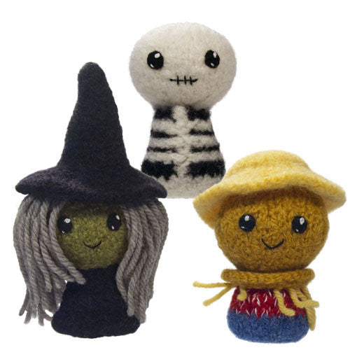 Adorblings™ Trick or Treat 2: Skeleton, Witch, Scarecrow Felted Knit Amigurumi Pattern, 4 inch - CraftyAlien.com