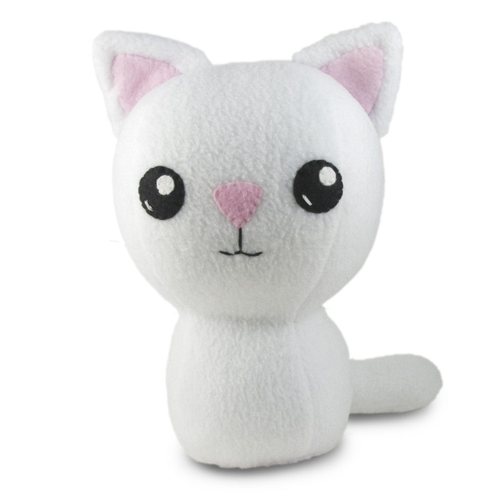 "White Kitty Plushie Stuffed Toy - Large - 10"" - CraftyAlien.com"