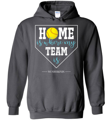 home is where my team is shirt, softball team hoodie, hooded sweatshirt, softball girl gift, present for softball player, softball, home plate, activewear, athletic clothes, sporty clothing, girls, children, child, kids, youth, teens, teenager, tween, women, softball mom, aqua blue, white, yellow, charcoal grey