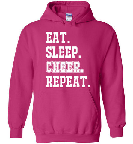eat. sleep. cheer. repeat. hoodie, hooded sweatshirt, cheerleader, cheerleading, sports gift, girl christmas present, white and pink