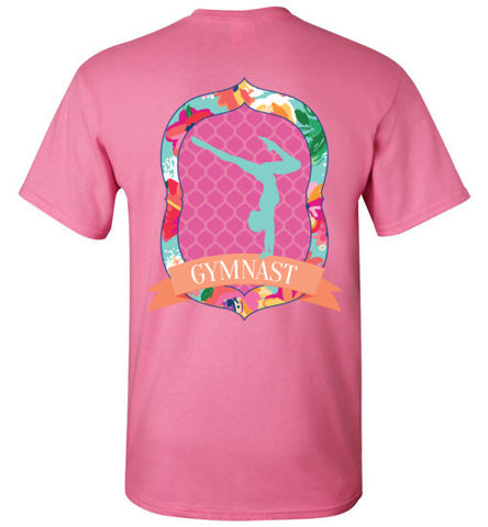 Gymnastics T-Shirt of Girls, tropical flowers, quatrefoil pattern, southern style shirt, female gymnast, gymnastics mom, gym coach, graphic tee, tween, teen, teenager present, clothing, shirt, top, blouse, sporty clothes, apparel, junior shirt, pink, orange, turquoise, yellow, green, azalea