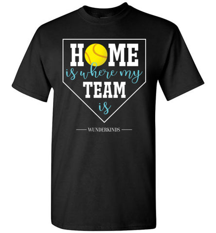 home is where my team is shirt, softball team t-shirt, softball girl gift, present for softball player, softball, home plate, activewear, athletic clothes, sporty clothing, girls, children, child, kids, youth, teens, teenager, tween, women, softball mom, aqua blue, white, yellow, black